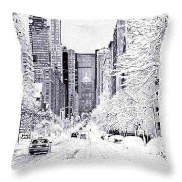 Snowy New York - Ballpoint Pen Art Throw Pillow