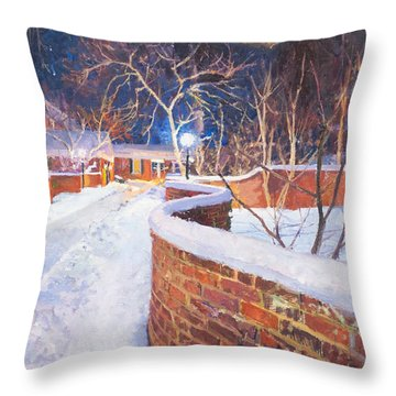 Snowy Night At The Serpentine Wall Throw Pillow