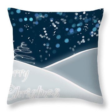 Snowy Night Christmas Card Throw Pillow