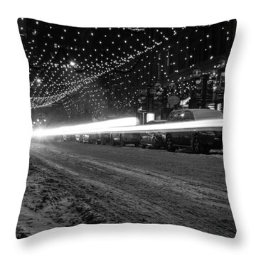 Snowy Night Light Trails Throw Pillow