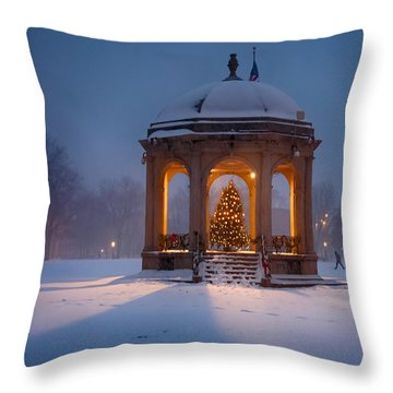Snowy Night On The Salem Common Throw Pillow by Jeff Folger