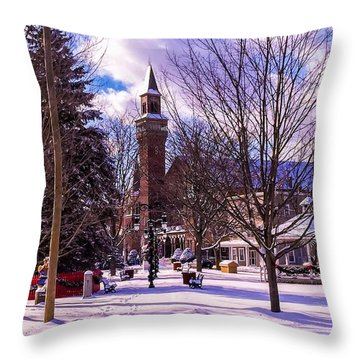 Snowy Old Town Hall Throw Pillow