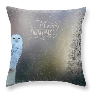 Snowy Owl Christmas Greeting Throw Pillow