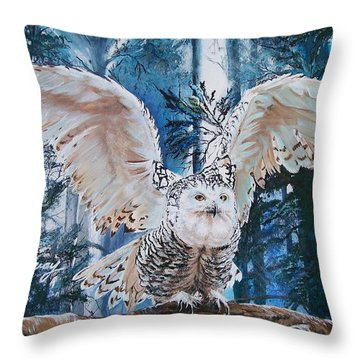 Throw Pillow featuring the painting Snowy Owl On Takeoff  by Sharon Duguay