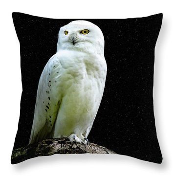 Throw Pillow featuring the photograph Snowy Owl Under The Moon by Scott Carruthers