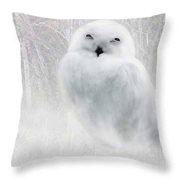 Throw Pillow featuring the painting Snowy Owlet by Elaine Manley