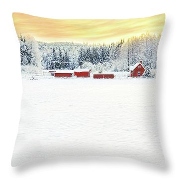 Snowy Ranch At Sunset Throw Pillow