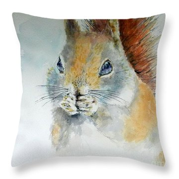 Snowy Red Squirrel Throw Pillow