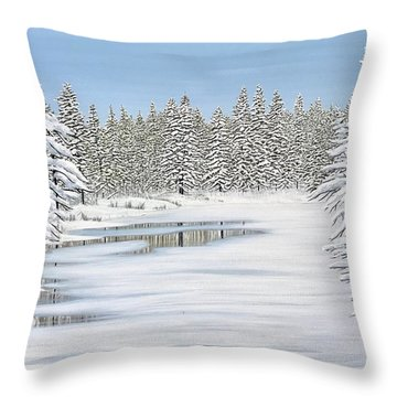 Throw Pillow featuring the painting Snowy River by Kenneth M Kirsch