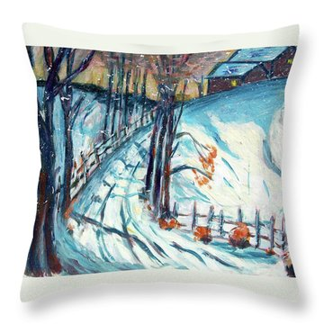 Snowy Road Throw Pillow by Carolyn Donnell