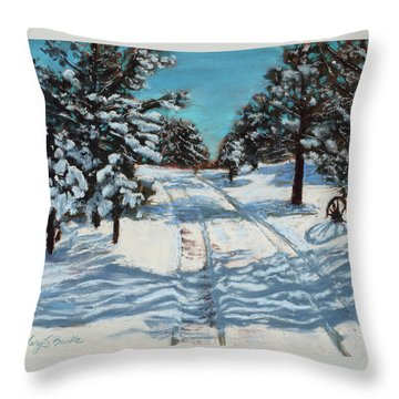Snowy Road Home Throw Pillow