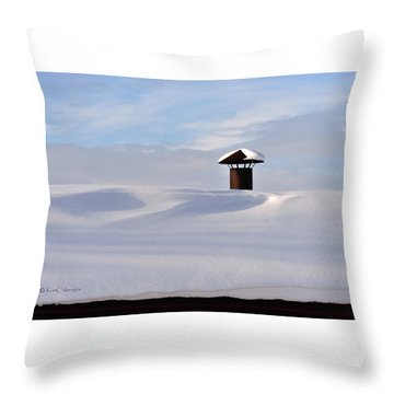 Snowy Roof With Stove Pipe Throw Pillow