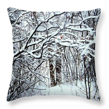 Snowy Silence Throw Pillow by Shirley Sirois