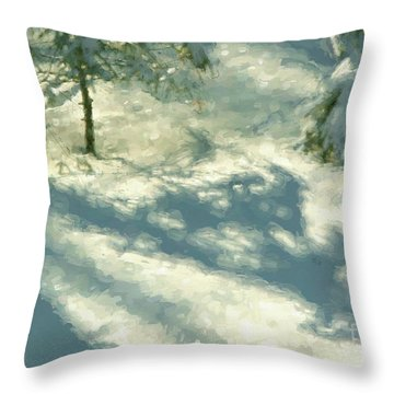Snowy Spruce Shadows Throw Pillow