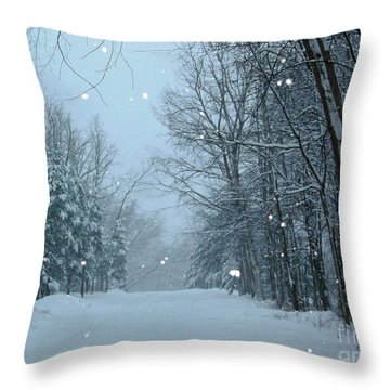 Snowy Street Throw Pillow