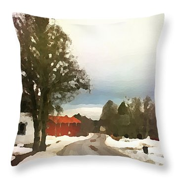 Snowy Street With Red House Throw Pillow