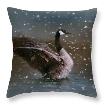 Snowy Swim Throw Pillow