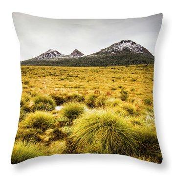 Snowy Tasmania Mountain Top Throw Pillow