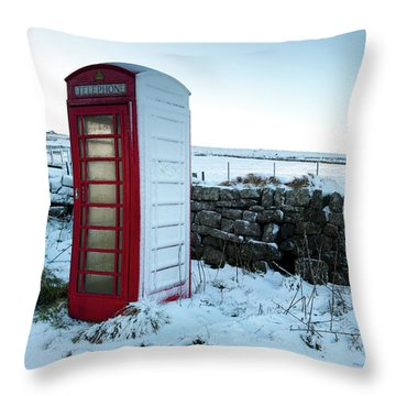 Snowy Telephone Box Throw Pillow by Helen Northcott