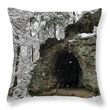 Snowy Torys Den Throw Pillow