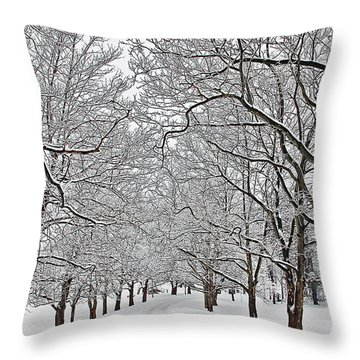 Snowy Treeline Throw Pillow