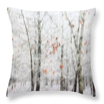 Throw Pillow featuring the photograph Snowy Trees Abstract by Benanne Stiens