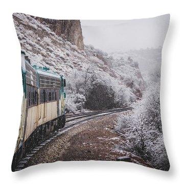 Snowy Verde Canyon Railroad Throw Pillow