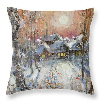 Snowy Village Throw Pillow