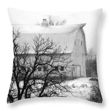Snowy White Barn Throw Pillow