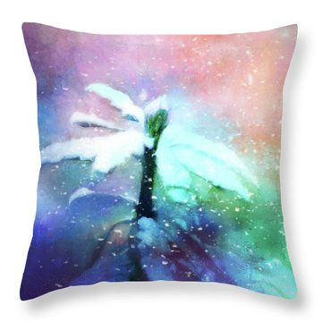 Snowy Winter Abstract Throw Pillow