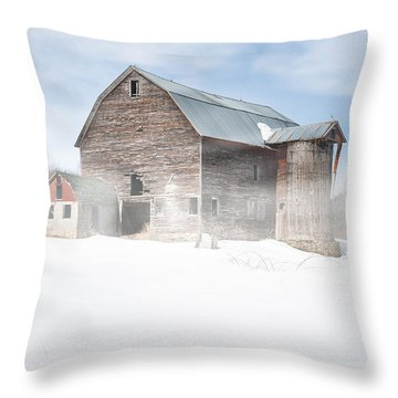 Throw Pillow featuring the photograph Snowy Winter Barn by Gary Heller