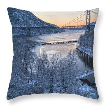 Snowy Winter Dawn At Three Bridges Throw Pillow
