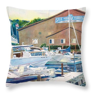 Throw Pillow featuring the painting Snug Harbor II by LeAnne Sowa