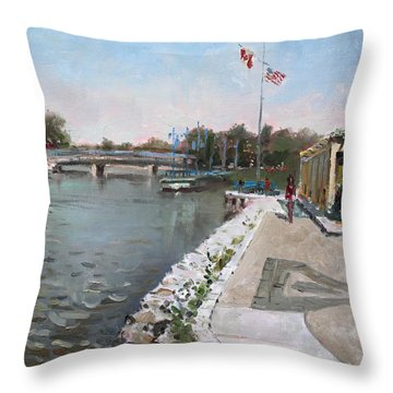 Snug Harbour Restaurant Throw Pillow by Ylli Haruni
