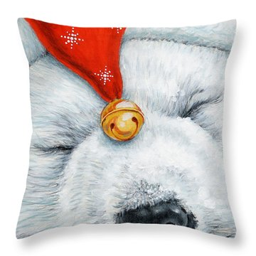 Snuggy Bear Throw Pillow by Richard De Wolfe