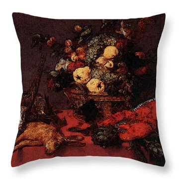 Snyders Frans Still Life With A Basket Of Fruit Throw Pillow