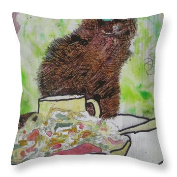 Throw Pillow featuring the painting So by AJ Brown