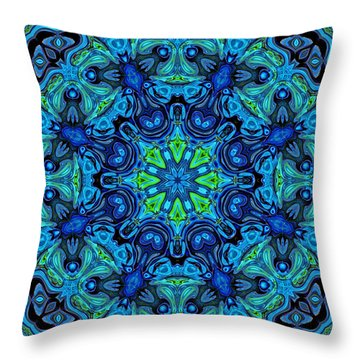 So Blue - 04v2 - Mandala Throw Pillow