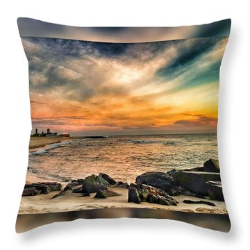 Sunrise On The Jetty Throw Pillow by Lauren Fitzpatrick