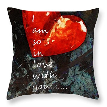 So In Love With You - Romantic Red Heart Painting Throw Pillow