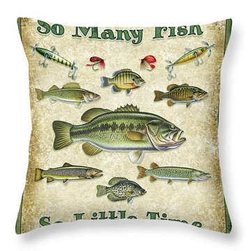 So Many Fish Sign Throw Pillow