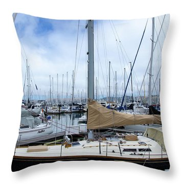 So Many Sailboats Throw Pillow by Laura DAddona