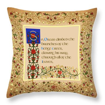 Throw Pillow featuring the digital art So Oscar Climbed Square by Donna Huntriss