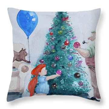 Throw Pillow featuring the painting So Pretty Grandpa by Geni Gorani
