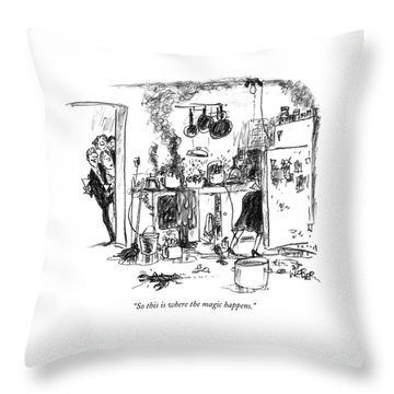 So This Is Where The Magic Happens Throw Pillow