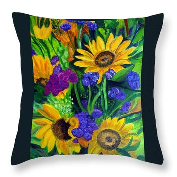 Sunflowers -soaking Up Sunshine Throw Pillow