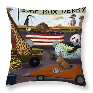 Soap Box Derby Throw Pillow