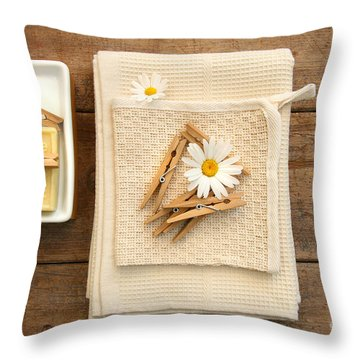 Soap Clothespins And Towels  Throw Pillow by Sandra Cunningham