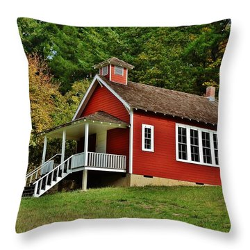 Soap Creek Schoolhouse Throw Pillow by VLee Watson