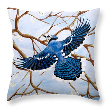 Soaring Blue Jay  Throw Pillow